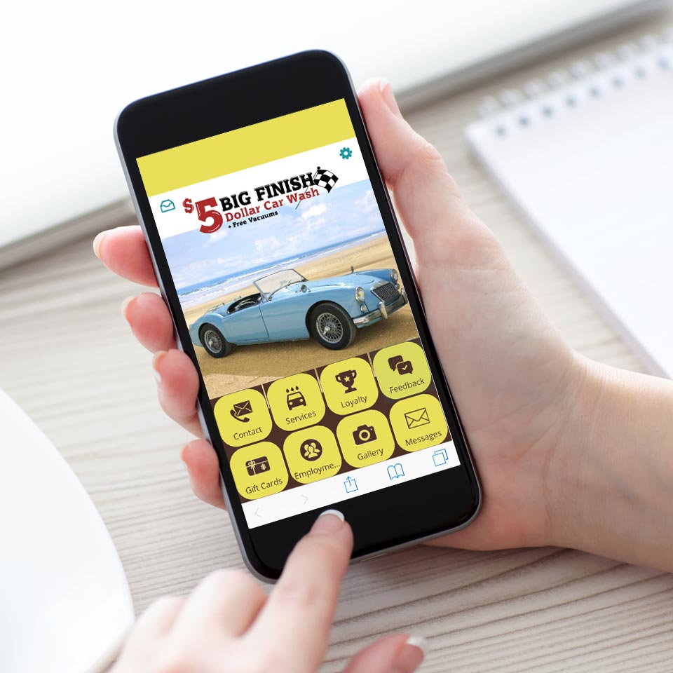 Download the Big Finish Car Wash Loyalty App